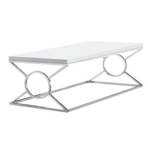 "Table basse rectangulaire, 44"", blanc/chrome"