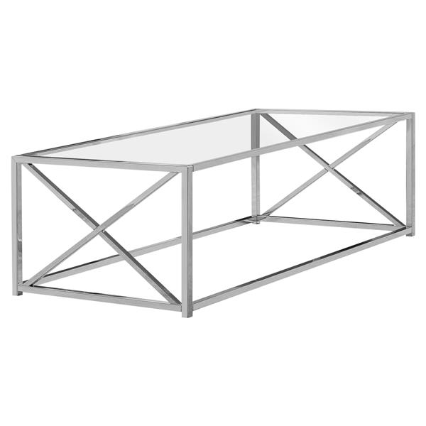 Monarch Rectangular Glass Coffee Table - 44-in - Chrome