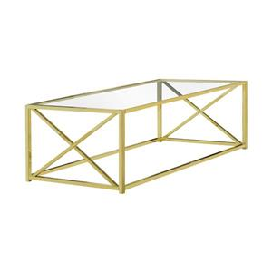 Monarch Rectangular Glass Coffee Table - 44-in - Gold