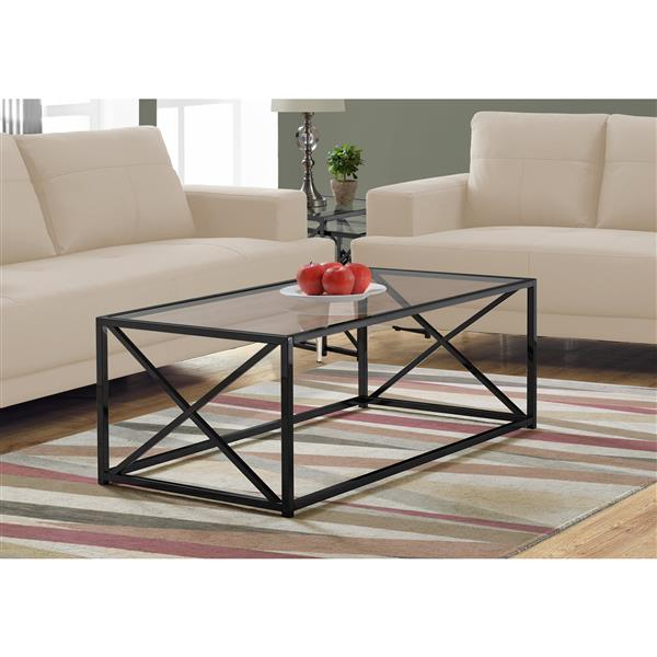 Monarch Rectangular Glass Coffee Table - 44-in - Black/Metal