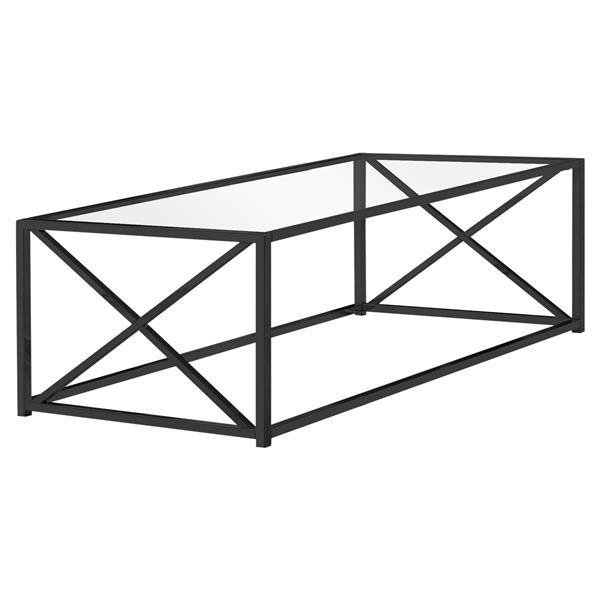 Monarch Rectangular Glass Coffee Table - 44-in - Black/Metal