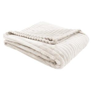 Monarch Faux Fur Ribbed Throw - 60-in x 50-in - Ivory