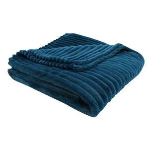 Monarch Faux Fur Ribbed Throw - 60-in x 50-in - Blue