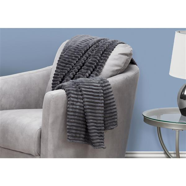Monarch Faux Fur Ribbed Throw - 60-in x 50-in - Grey