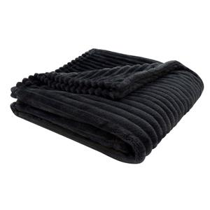 Monarch Faux Fur Ribbed Throw - 60-in x 50-in - Black