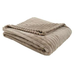 Monarch Faux Fur Ribbed Throw - 60-in x 50-in - Beige