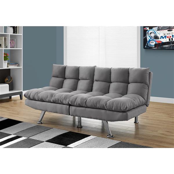 Monarch Convertible Micro-Suede Sofa - Grey