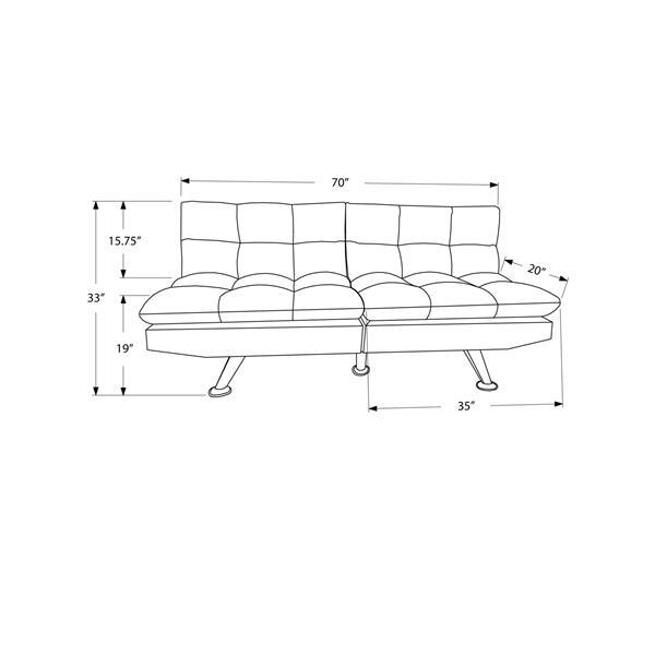Monarch Convertible Micro-Suede Sofa - Black