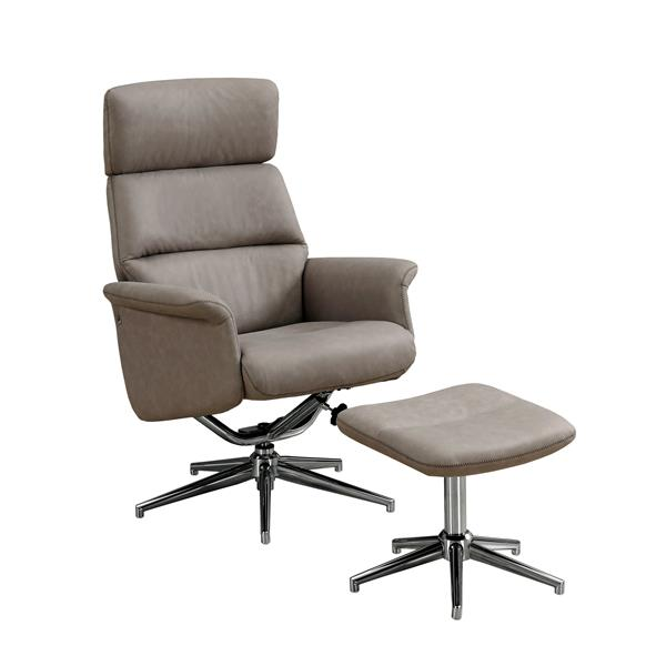 Monarch Leather Recliner Chair Set  - 2 Pieces - Taupe