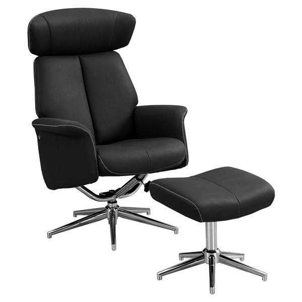 Ensemble de fauteuil inclinable en cuir, noir, 2 mcx
