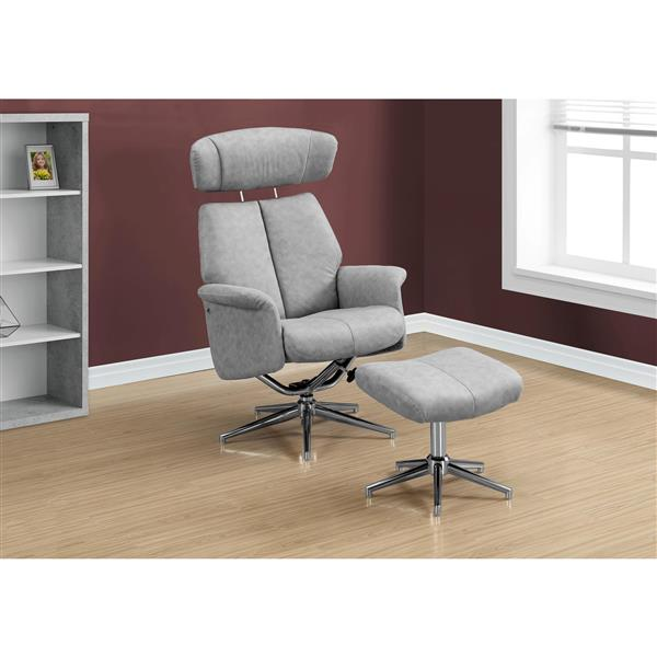 Monarch Leather Recliner Chair Set  - 2 Pieces - Grey