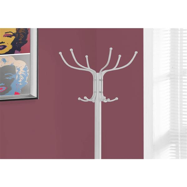 Monarch Contemporary Coat Rack - 70-in - White