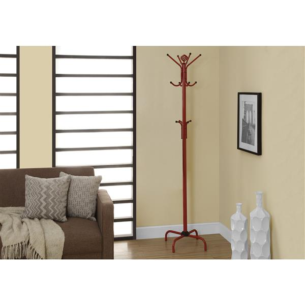 Monarch Contemporary Coat Rack - 70-in - Red