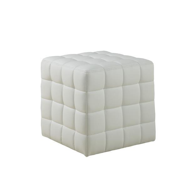 Monarch Faux Leather Ottoman - White