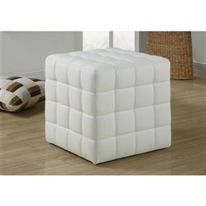 Faux Leather Ottoman - White