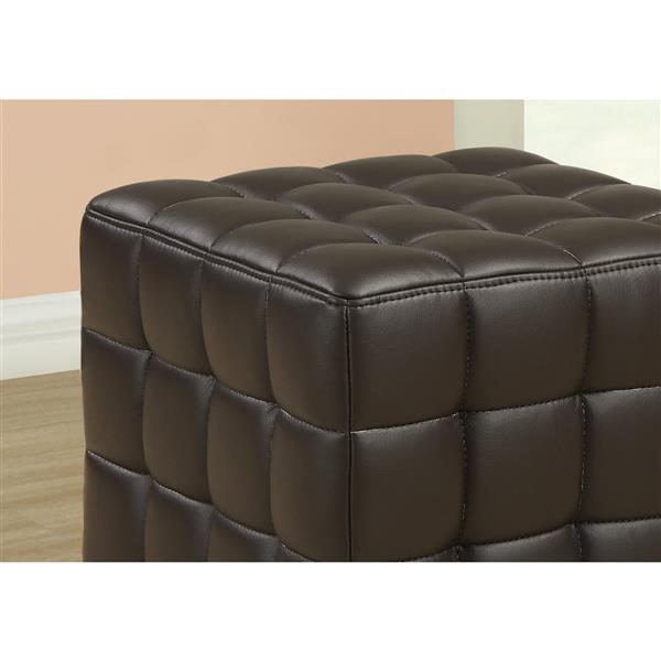 Monarch Faux Leather Ottoman - Dark Brown