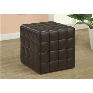 Pouf en similicuir cuir, brun foncé
