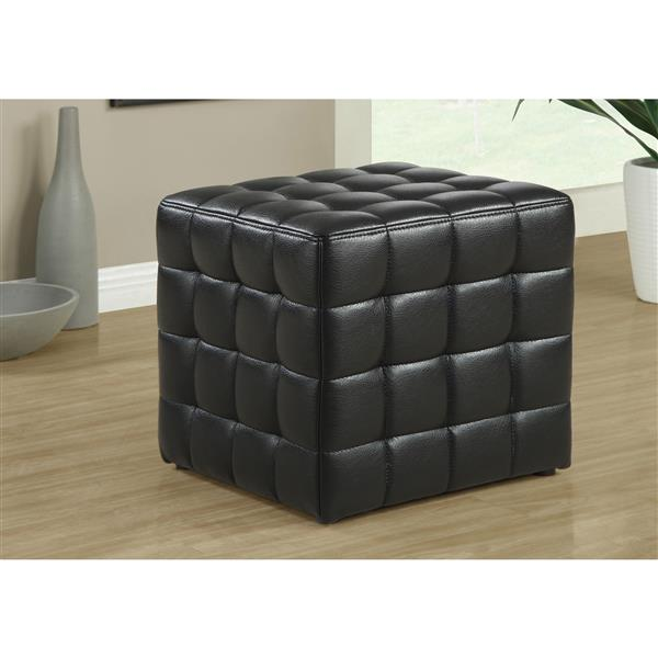 Monarch Faux Leather Ottoman - Black