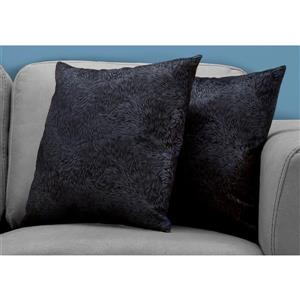 Monarch Decorative Pillow - 2 Pack - 18-in x 18-in - Black
