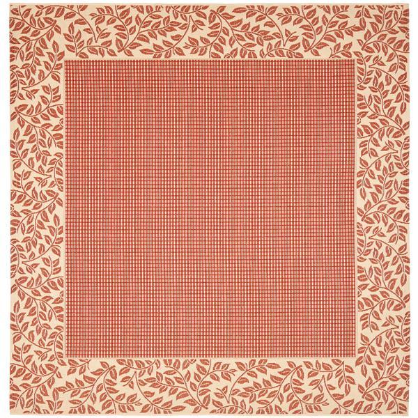 Safavieh Courtyard Rug - 7.8' x 7.8' - Polypropylene - Red/Natural