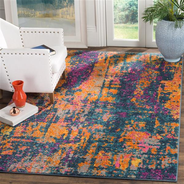 Safavieh Madison Abstract Rug - 4' x 6' - Polypropylene - Blue/Orange