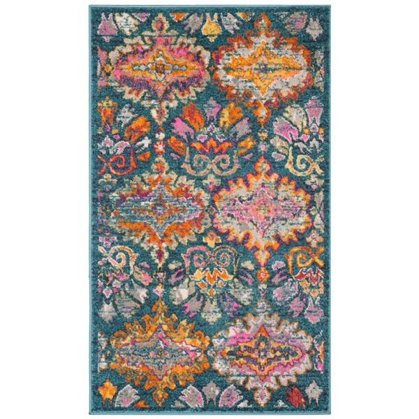 Safavieh Madison Floral Rug - 3' x 5' - Polypropylene - Blue/Orange