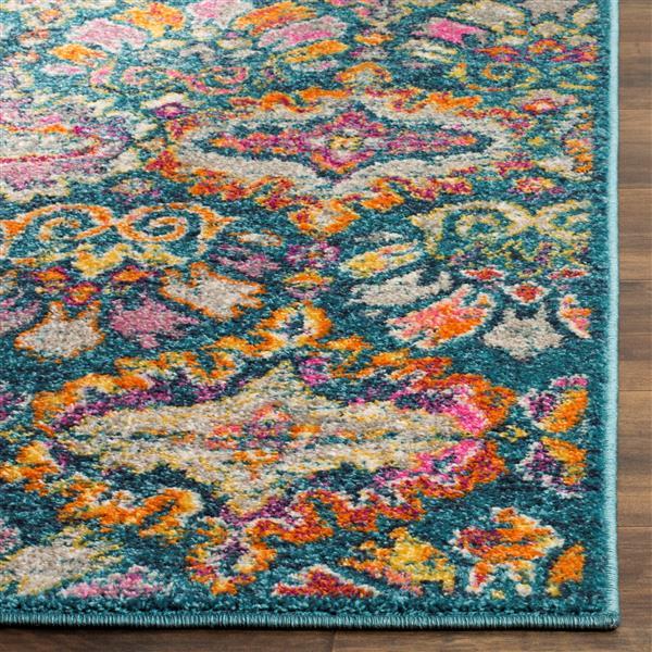 Safavieh Madison Floral Rug - 2.3' x 8' - Polypropylene - Blue/Orange