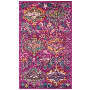 Madison Floral Rug - 3' x 5' - Polypropylene - Fuchsia/Blue