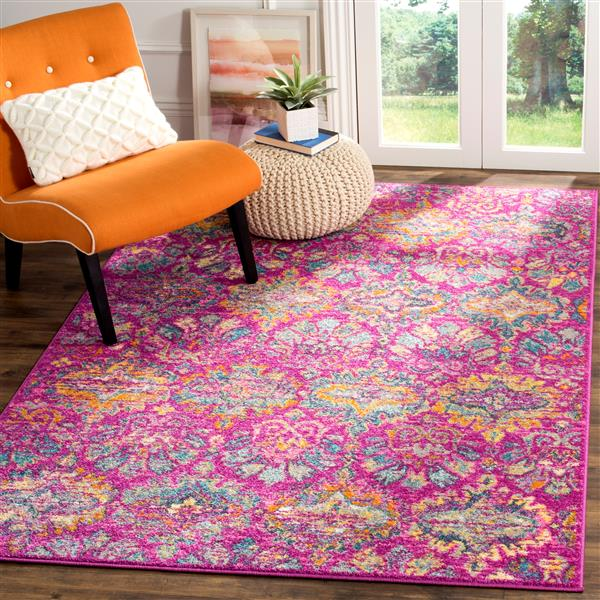 Safavieh Madison Floral Rug - 4' x 6' - Polypropylene - Fuchsia/Blue