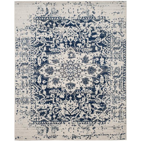 Safavieh Madison Rug - 12' x 18' - Polyester - Cream/Navy Blue