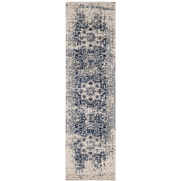 Safavieh Madison Rug - 2.3' x 12' - Polyester - Cream/Navy Blue