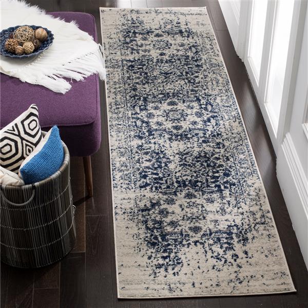 Safavieh Madison Rug - 2.3' x 14' - Polyester - Cream/Navy Blue
