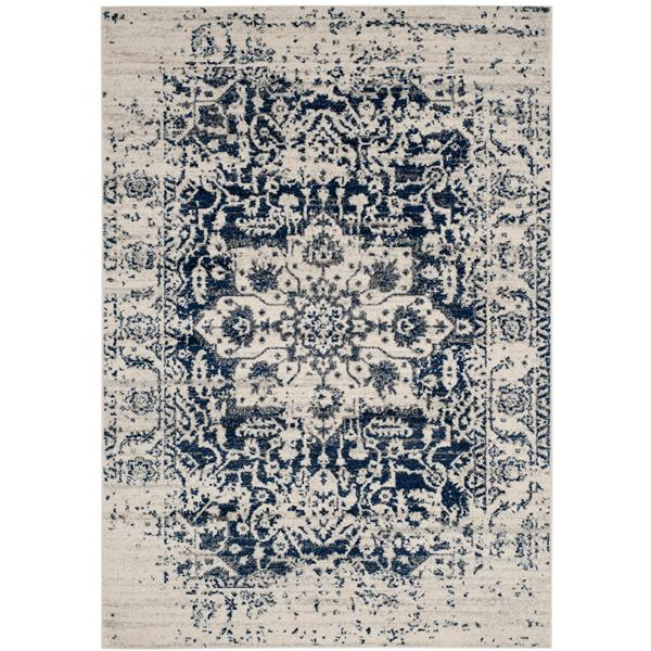 Safavieh Madison Rug - 4' x 6' - Polyester - Cream/Navy Blue
