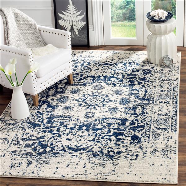 Safavieh Madison Rug - 5.1' x 7.5' - Polyester - Cream/Navy Blue