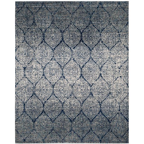 Safavieh Madison Ikat Rug - 10' x 14' - Polyester - Navy Blue/Silver
