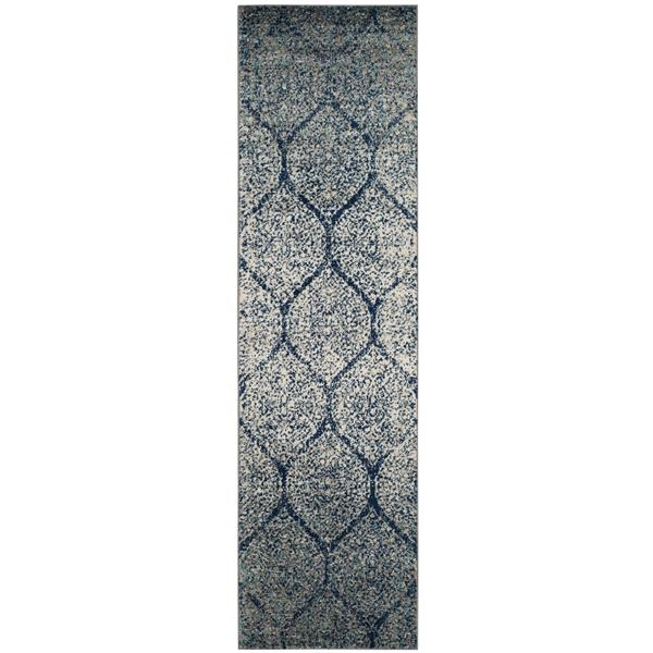 Safavieh Madison Ikat Rug - 2.3' x 10' - Polyester - Navy Blue/Silver