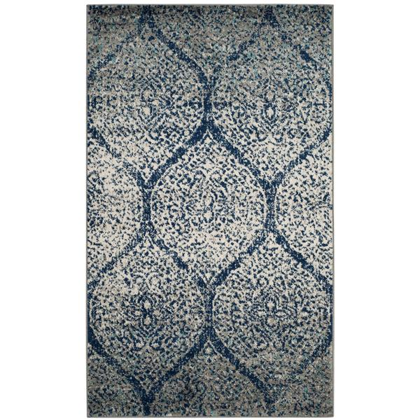 Safavieh Madison Ikat Rug - 3' x 5' - Polyester - Navy Blue/Silver