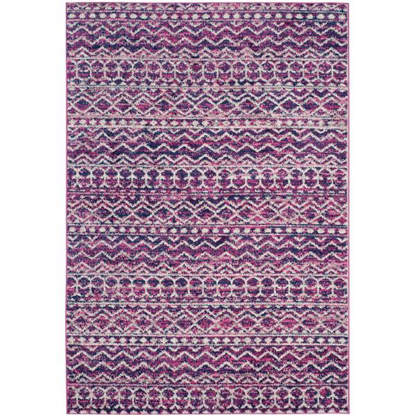 Safavieh Madison Rug - 4' x 6' - Polyester - Fuchsia/Navy Blue