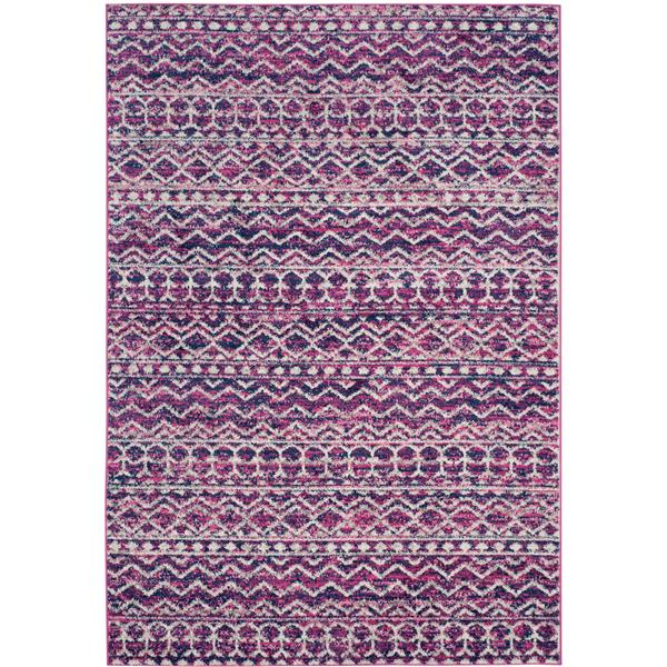 Safavieh Madison Rug - 5.1' x 7.5' - Polyester - Fuchsia/Navy Blue
