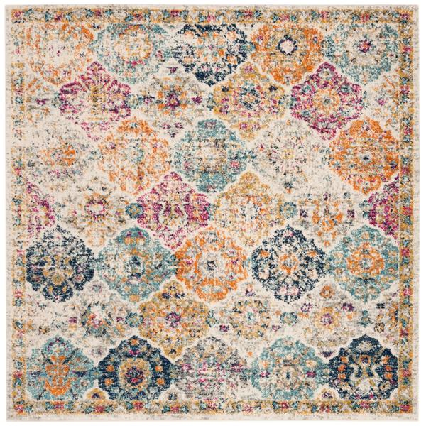 Safavieh Madison Floral Rug - 5' x 5' - Synthetic - Cream/Multi