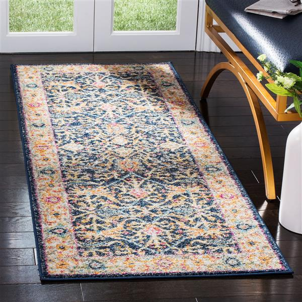 Safavieh Madison Rug - 2.3' x 12' - Polyester - Navy Blue/Cream