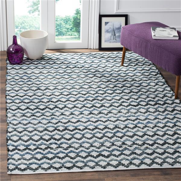 Safavieh Montauk Stripe Rug - 2.5' x 4' - Cotton - Blue/Black