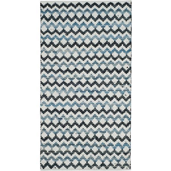 Safavieh Montauk Stripe Rug - 3' x 5' - Cotton - Blue/Black
