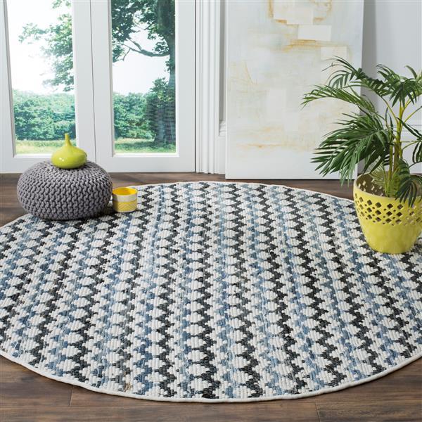 Safavieh Montauk Stripe Rug - 4' x 4' - Cotton - Blue/Black