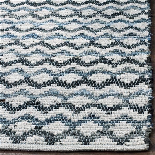 Safavieh Montauk Stripe Rug - 4' x 6' - Cotton - Blue/Black