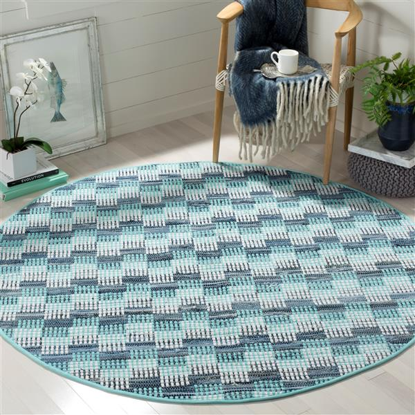 Safavieh Montauk Stripe Rug - 6' x 6' - Cotton - Turquoise/Multi