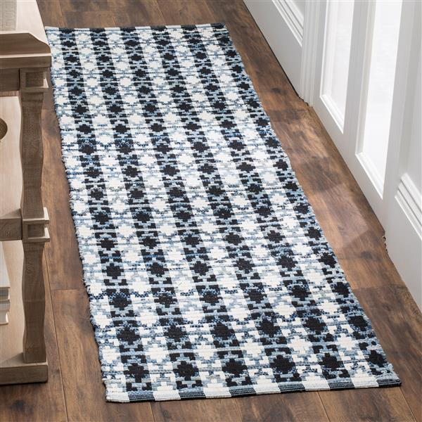 Safavieh Montauk Stripe Rug - 2.3' x 8' - Cotton - Ivory/Black