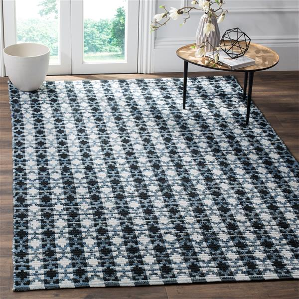 Safavieh Montauk Stripe Rug - 4' x 4' - Cotton - Ivory/Black