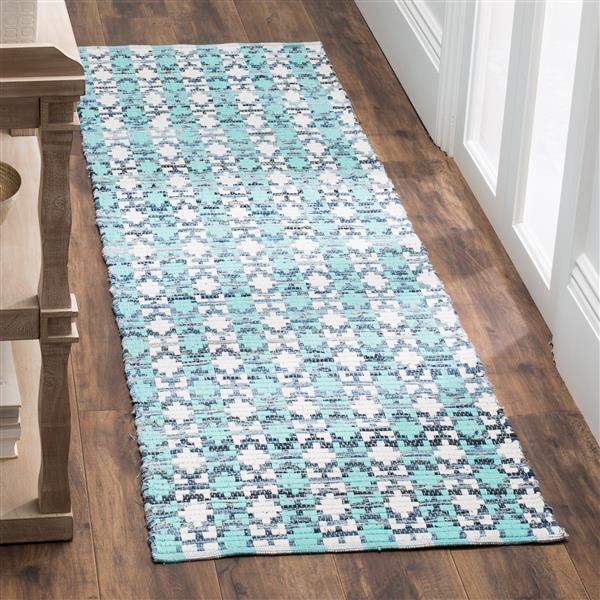 Safavieh Montauk Stripe Rug - 2.3' x 8' - Cotton - Turquoise/Multi