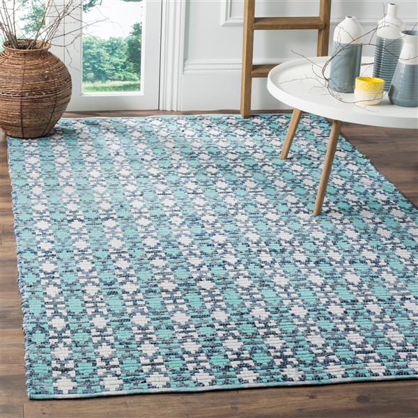 Safavieh Montauk Stripe Rug - 4' x 6' - Cotton - Turquoise/Multi